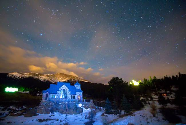St Malos Chapel On The Rocks Starry Night View