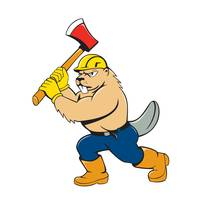 Beaver Lumberjack Wielding Ax Cartoon