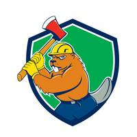 Beaver Lumberjack Wielding Ax Shield Cartoon