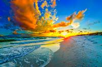 beautiful blue sky orange sunset beach seascape