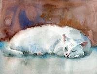 White Cat art print, Frosty