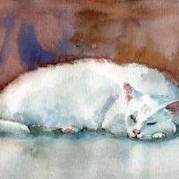 """""""White Cat art print, Frosty"""" by schulmanart"""