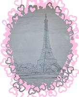 Eiffel Tower Pink Hearts
