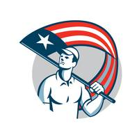 American Tradesman Holding USA Flag Circle