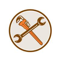 Spanner Monkey Wrench Crossed Circle Retro