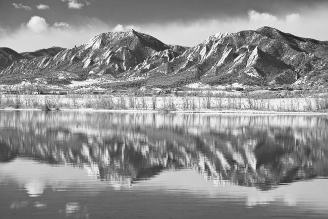 Boulder Reservoir Flatirons Reflections CO BW