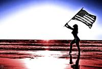Woman Silhouette in Red White Blue with USA Flag