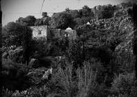 arab hillside house b&w
