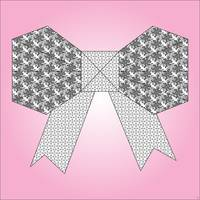 Origami Bow Pink & Gray-Wall Art 7x7