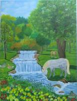 waterfall with horses