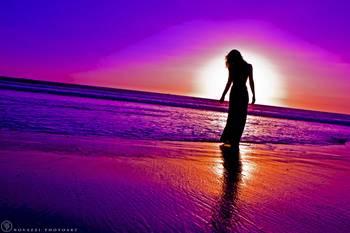 Woman In Dress Silhouette In Purple Sunset By Jonah Z Lavitt
