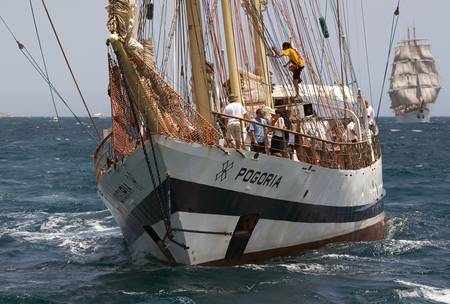 Polish barquentine Pogoria off the Coast of Spain