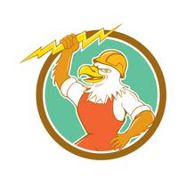 Bald Eagle Electrician Lightning Bolt Circle Carto
