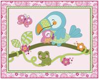 Tropical Flamingo Garden - Toucan Nursery Art