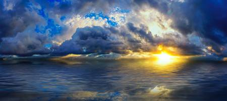 amazing blue cloudscape panoramic sunset