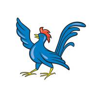 Chicken Rooster Wing Pointing Cartoon