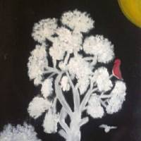 White Tree With Black Background Art Prints & Posters by Louise Knapper
