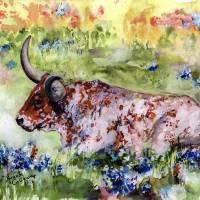 """Texas Longhorn In Bluebonnets Watercolor"" by GinetteCallaway"