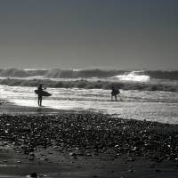 Surfers and Winter Waves by Eileen Ringwald