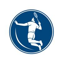 Badminton Player Jump Smash Circle Icon