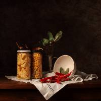 Still life on chili peppers Art Prints & Posters by Cecilia Gilabert
