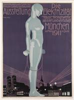 Poster advertising the 'Electricity Exhibition'