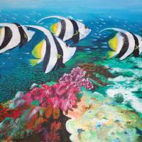 Fishes and Coral Reefs - Original Acrylic Painting Art Prints & Posters by Mrs Neeraj Parswal
