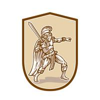 Centurion Roman Soldier Wielding Sword Cartoon