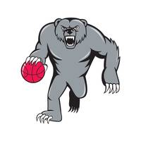 Grizzly Bear Angry Dribbling Basketball Isolated