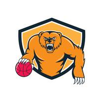 Grizzly Bear Angry Dribbling Basketball Shield Car