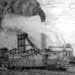 My pencil drawing of Frickley Colliery, Yorkshire