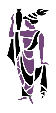 Greek Woman in Purple Holding Urn