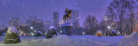 Boston Skyline from Public Garden in Snowstorm