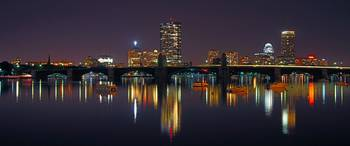 Boston Skyline Panoramic at Night