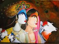 Krishna and Godess Radha- Original Acrylic Paintin