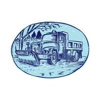 Snow Plow Truck Oval Etching
