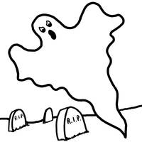 Halloween Ghost Floats Over Graveyard RIP