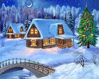 Snow Covered Log Cabin Home For Christmas