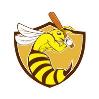 Killer Bee Baseball Player Bat Crest Cartoon