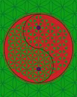 Green bg FoL Yin & Yang - red