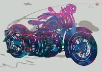 Stylised Motorcycle Art Sketch Poster
