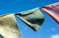 Ella Sri Lanka Buddhist prayer flags fluttering in