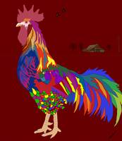 Colorful Rooster down on the farm