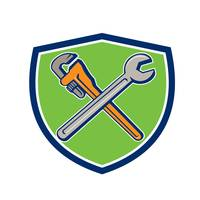 Spanner Monkey Wrench Crossed Crest Cartoon