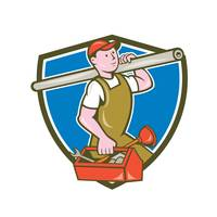 Plumber Carrying Pipe Toolbox Crest Cartoon