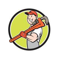 Plumber Smiling Holding Monkey Wrench Circle Carto