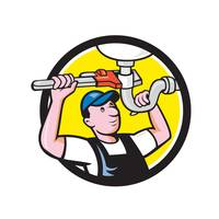 Plumber Repairing Sink Pipe Wrench Circle Cartoon
