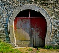 An Old Granite Forge Door