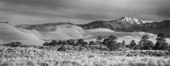 Plains - Dunes and Rocky Mountains Panorama BW