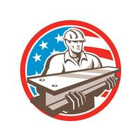 Construction Steel Worker I-Beam USA Flag Circle